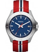 Buy Fossil Mens Blue and Red Retro Traveller Watch online
