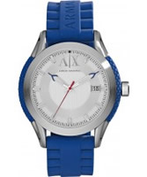 Buy Armani Exchange Mens Silver Blue Coronado Active Watch online