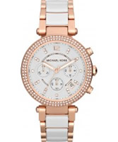Buy Michael Kors Ladies White and Rose Gold Parker Watch online