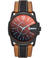 Buy Diesel Mens Master Chief Tan Leather Strap Watch online