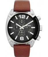 Buy Diesel Mens Overflow Tan Leather Strap Watch online