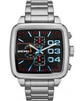Buy Diesel Mens Square Franchise Chrono Silver Bracelet Watch online