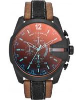 Buy Diesel Mens Mega Chief Tan Leather Strap Watch online