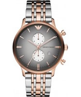 Buy Emporio Armani Mens Grey and Rose Gold IP Gianni Watch online