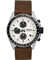 Buy Fossil Mens Cream and Brown Decker Chronograph Watch online