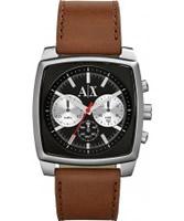 Buy Armani Exchange Mens Black Brown Stockton Smart Watch online