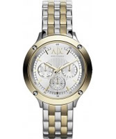 Buy Armani Exchange Ladies Silver and Gold Capistrano Active Watch online