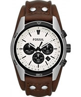 Buy Fossil Mens Cream and Brown Coachman Chronograph Watch online