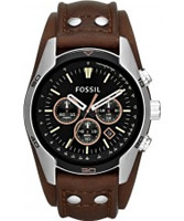 Buy Fossil Mens Black and Brown Coachman Chronograph Watch online