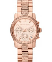 Buy Michael Kors Ladies Rose Gold Runway Stone Set Watch online