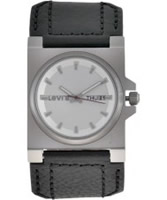 Buy Levis Ladies Silver Dial And Black Leather Strap Watch online