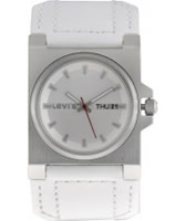 Buy Levis Ladies Silver Dial White Leather Strap Watch online