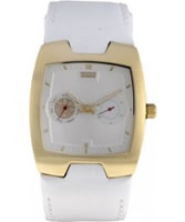 Buy Levis Ladies White Dial And Strap With Gold Plated Head Case Watch online