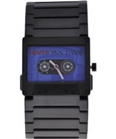 Buy Levis Unisex Mix Tape Blue Dial Black Ip Bracelet Watch online
