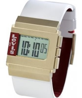 Buy Levis Unisex Digital Display White Leather Strap Watch online