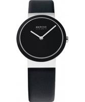 Buy Bering Time Ladies Ceramic Black Calfskin Watch online