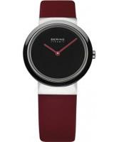 Buy Bering Time Ladies Ceramic Red Calfskin Watch online