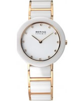 Buy Bering Time Ladies White and Gold Ceramic Watch online