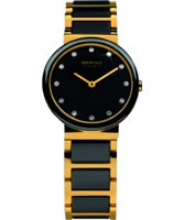 Buy Bering Time Ladies Ceramic Black Gold Watch online