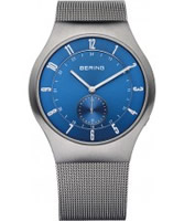 Buy Bering Time Mens Blue and Silver Radio Controlled Watch online