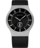 Buy Bering Time Mens Black Radio Controlled Calfskin Leather Watch online