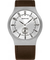 Buy Bering Time Mens Brown Radio Controlled Calfskin Leather Watch online
