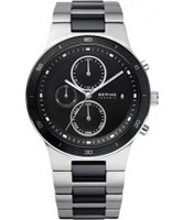 Buy Bering Time Mens Black and Silver Chronograph Ceramic Watch online