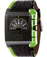 Buy 01 THE ONE Mens Turning Disc Black-Green Watch online
