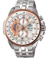 Buy Casio Mens Edifice White Steel Rose Gold Watch online