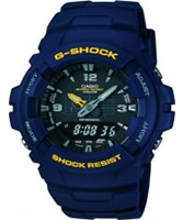 Buy Casio Mens G-Shock Black and Blue Resin Strap Watch online