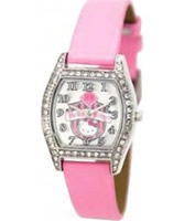 Buy Hello Kitty Ladies Kitty Coat Of Arms Stone Set Silver Pink Watch online