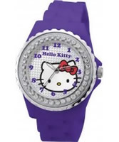 Buy Hello Kitty Ladies Go Faster Kitty Sport Silver Purple Watch online