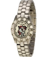 Buy Ed Hardy Ladies White Skull Steel Watch online