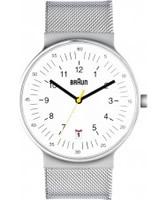 Buy Braun Mens All White Mesh Watch online