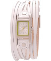 Buy Kahuna Ladies White Leather Multi Thong Bracelet With Square Stainless Steel Head Casing And White Dial Green Detail Watch online