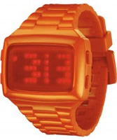 Buy LED Unisex Digital Orange Dial And Pu Strap Watch online