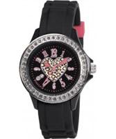 Buy Tikkers Girls Black Stone Set Heart Watch online
