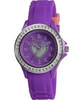 Buy Tikkers Girls Purple Stone Set Heart Watch online