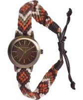Buy Kahuna Ladies Brown Woven Fabric Friendship Watch online