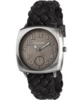 Buy Kahuna Mens Black Woven Leather Strap Watch online