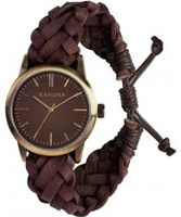 Buy Kahuna Mens Tan Woven Leather Friendship Watch online