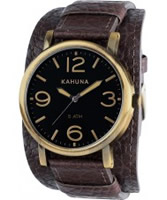 Buy Kahuna Mens Oversized Brown Leather Cuff Watch online