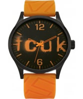 Buy French Connection Mens Black and Orange Silicone Watch online