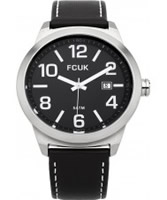 Buy French Connection Mens Black Leather Strap Watch online