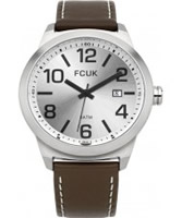 Buy French Connection Mens Silver Brown Leather Watch online