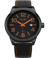 Buy French Connection Mens All Black Leather Watch online
