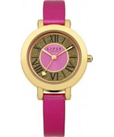 Buy Lipsy Ladies Gold and Pink Skinny Strap Watch online