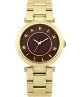Buy Karen Millen Ladies Gold and Brown Steel Watch online