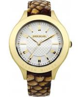Buy Karen Millen Ladies Gold and Brown Leather Strap Watch online