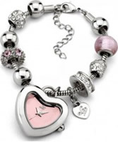 Buy Lipsy Ladies Pink and Silver Charm Bracelet Watch online